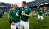 Rory Best and Jamie Heaslip, the two most experienced members of the pack, celebrate Ireland's historic win in Chicago Credit: ©INPHO/Dan Sheridan
