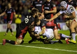 Guinness PRO12, BT Murrayfield, Scotland 4/11/2016Edinburgh vs UlsterEdinburgh's Cornel Du Prez and Sean Kennedy stop Tommy Bowe of Ulster from scoring a tryMandatory Credit ©INPHO/Craig Watson