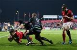 Guinness PRO12, Irish Independent Park, Cork 4/11/2016Munster vs OspreysMunster's Darren Sweetnam scores a tryMandatory Credit ©INPHO/Cathal Noonan