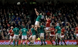 Billy Holland rises first to secure lineout possession for Ireland in their opening GUINNESS Series game Credit: ©INPHO/Donall Farmer