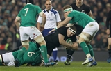 New Zealand's returning lock Brodie Retallick is tackled by CJ Stander of Ireland as Sean O'Brien and Jamie Heaslip move in Credit: ©INPHO/Billy Stickland