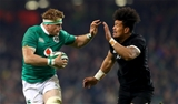 Ireland number 8 Jamie Heaslip looks to hold off Ardie Savea, who was one of New Zealand's most influential replacements Credit: ©INPHO/James Crombie