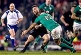 Ireland full-back Rob Kearney made an important tackle on TJ Perenara as the visitors pressed for a late fourth try Credit: ©INPHO/Tommy Dickson