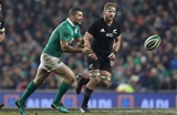 New Zealand skipper Kieran Read watches Rob Kearney spin the ball wide for Joe Schmidt's men Credit: ©INPHO/Billy Stickland