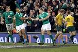 Guinness Series, Aviva Stadium, Dublin 26/11/2016Ireland vs Australia Ireland's Keith Earls celebrates scoring a try with Simon ZeboMandatory Credit ©INPHO/Dan Sheridan