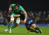 Connacht skipper John Muldoon is tackled by Cardiff's new Kiwi centre Willis Halaholo, who made his debut recently against Treviso Credit: ©INPHO/James Crombie