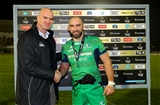Guinness PRO12, Sportsground, Galway 25/11/2016Connacht vs Cardiff BluesConnacht's John Muldoon is presented with the Guinness PRO12 Man of the Match award by Ray Sheehan of Guinness Mandatory Credit ©INPHO/James Crombie