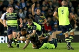 European Rugby Champions Cup Round 3, Franklin's Gardens, Northampton, England 9/12/2016Northampton Saints vs LeinsterNorthampton Saints's Courtney Lawes tackles by Jamie Heaslip and Robbie Henshaw of LeinsterMandatory Credit ©INPHO/James Crombie