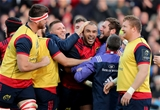 Simon Zebo celebrates scoring Munster's first try with some of the province's replacements Credit: ©INPHO/Dan Sheridan