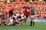 The onrushing Simon Zebo breaks a tackle from Leicester number 8 Lachlan McCaffrey on his way to the try-line Credit: ©INPHO/Dan Sheridan