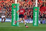 There was no stopping Simon Zebo from close range as his try moved Munster into a 19-0 lead Credit: ©INPHO/Dan Sheridan