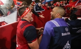CJ Stander and Simon Zebo, the scorer of Munster's opening try, celebrate together as the players leave the pitch Credit: ©INPHO/Ryan Byrne