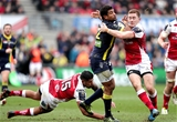 European Rugby Champions Cup Round 3, Kingspan Stadium, Belfast 10/12/2016Ulster vs ASM Clermont AuvergneUlster's Charles Piutau and Paddy Jackson with Wesley Fofana of ASM Clermont AuvergneMandatory Credit ©INPHO/Morgan Treacy