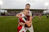 Ireland internationals Luke Marshall and Iain Henderson congratulate each other after Ulster prevailed in a tense finish Credit: ©INPHO/Morgan Treacy