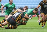 Connacht's Ireland-capped lock Quinn Roux is brought to ground by two Wasps defenders Credit: ©INPHO/Billy Stickland