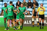Kieran Marmion celebrates his try with fellow back Tiernan O'Halloran at the Ricoh Arena Credit: ©INPHO/James Crombie