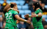 Bundee Aki and John Muldoon celebrate with try scorer Rory Parata after he helped Connacht to close the gap to 20-17 Credit: ©INPHO/James Crombie