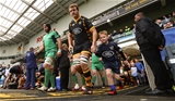 Captains John Muldoon and Joe Launchbury leads the teams out for the 1pm kick-off Credit: ©INPHO/James Crombie