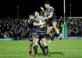 European Rugby Champions Round 4, Sportsground, Galway 17/12/2016Connacht vs WaspsConnacht's Matt Healy, Rory Parata and Tiernan OÕHalloran celebrate with winning goal kicker Jack CartyMandatory Credit ©INPHO/Morgan Treacy