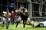European Rugby Champions Round 4, Aviva Stadium, Dublin 17/12/2016Leinster vs Northampton SaintsLeinster's Adam Byrne scores the first try of the gameMandatory Credit ©INPHO/Ryan Byrne