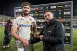 Guinness PRO12, Kingspan Stadium, Belfast 23/12/2016Ulster vs ConnachtUlster's Iain Henderson is presented with the Guinness PRO12 man of the match award by David Callaghan of GuinnessMandatory Credit ©INPHO/Morgan Treacy