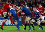 Guinness PRO12, Thomond Park, Limerick 26/12/2016Munster vs LeinsterMunster's Jean Kleyn tackled by Richardt Strauss, Ross Molony and Dan Leavy of LeinsterMandatory Credit ©INPHO/James Crombie