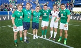 2017 Summer Tour, Red Bull Arena, New Jersey, USA 10/6/2017USA vs IrelandConnacht players Kieran Marmion, Finlay Bealham, Jonh Conney, Dave Heffernan and Tiernan O'Halloran with former player AJ MacGinty of USAMandatory Credit ©INPHO/Ryan Byrne