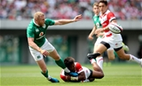 2017 Summer Tour 2nd Test, Ajinomoto Stadium, Chofu, Tokyo, Japan 17/6/2017Japan vs IrelandJapan's Kotaro Matshima and Keith Earls of IrelandMandatory Credit ©INPHO/Ryan Byrne