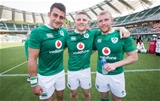 2017 Summer Tour 2nd Test, Ajinomoto Stadium, Chofu, Tokyo, Japan 17/6/2017Japan vs IrelandIreland's Tiernan OHalloran, Andrew Conway and Keith Earls after the game Mandatory Credit ©INPHO/Ryan Byrne