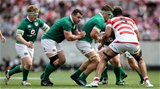 2017 Summer Tour 3rd Test, Ajinomoto Stadium, Chofu, Tokyo 24/6/2017Japan vs IrelandJapan's Uwe Helu with Josh van der Flier and Cian Healy of IrelandMandatory Credit ©INPHO/Ryan Byrne