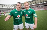 2017 Summer Tour 3rd Test, Ajinomoto Stadium, Chofu, Tokyo 24/6/2017Japan vs IrelandIreland's Cian Healy and James Tracy after the game Mandatory Credit ©INPHO/Ryan Byrne