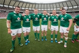 2017 Summer Tour 3rd Test, Ajinomoto Stadium, Chofu, Tokyo 24/6/2017Japan vs IrelandIreland's Niall Scannell. Rory Scannell, John Ryan, Andrew Conway, Keith Earls and Dave Kilcoyne after the game Mandatory Credit ©INPHO/Ryan Byrne