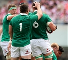2017 Summer Tour 3rd Test, Ajinomoto Stadium, Chofu, Tokyo 24/6/2017Japan vs IrelandIreland's Rhys Ruddock celebrates his try with Josh van der Flier and Cian Healy Mandatory Credit ©INPHO/Ryan Byrne