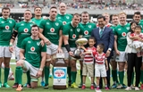 2017 Summer Tour 3rd Test, Ajinomoto Stadium, Chofu, Tokyo 24/6/2017Japan vs IrelandIreland's Rhys Ruddock with the trophy after the game Mandatory Credit ©INPHO/Ryan Byrne