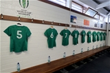 The Ireland Women's jerseys hanging in the UCD dressing room before the arrival of the players