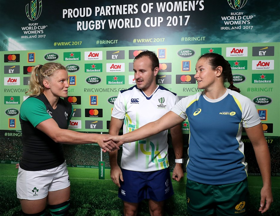 Ireland WRWC 2017 captain Claire Molloy shakes hands with her Australian counterpart Shannon Parry, who won Olympic gold with the Sevens side last year