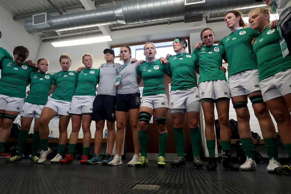 Galway woman Claire Molloy gives a final team talk in the dressing room before Ireland's WRWC 2017 opener at the UCD Bowl