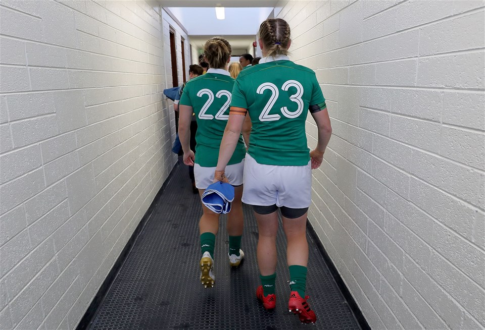 Katie Fitzhenry, who came on as a second half replacement, and Mairead Coyne make their way to the UCD Bowl pitch
