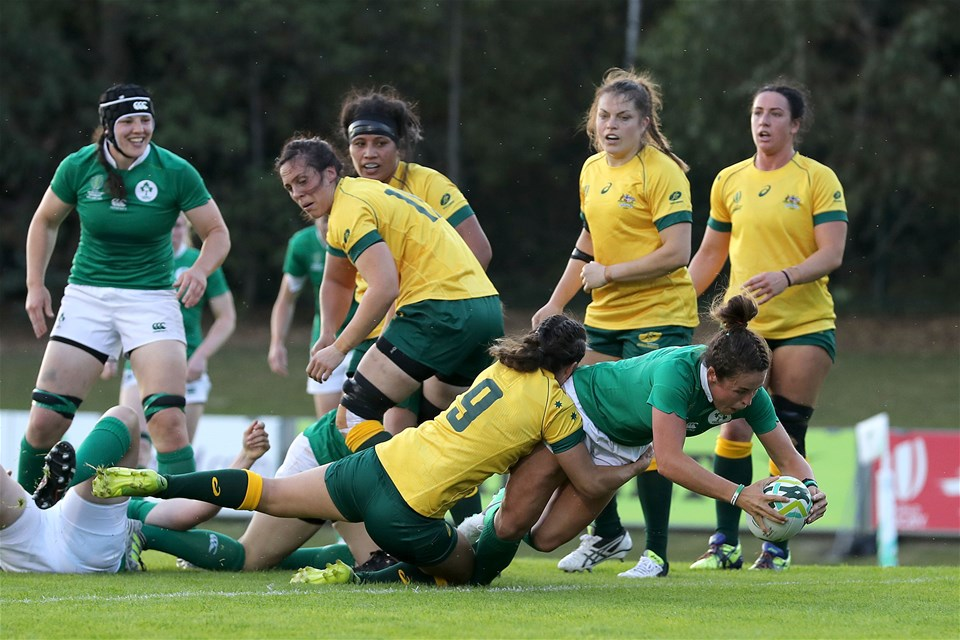 Scrum half Larissa Muldoon dives over to score Ireland's opening try of the game at the 20-minute mark