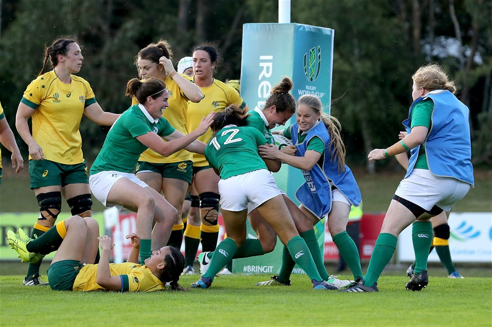 Donegal woman Larissa Muldoon is congratulated by Nora Stapleton, Sene Naoupu and Nicole Cronin after opening Ireland's account against Australia