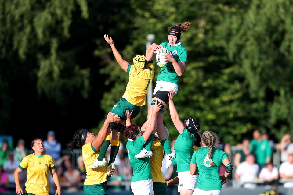 50-cap second row Marie Louise Reilly wins a lineout for Ireland during the first half