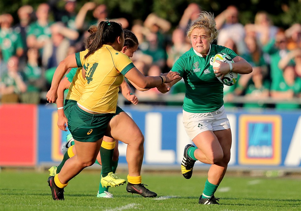 Determined hooker Cliodhna Moloney takes on the Australian defence during the early stages of the second half