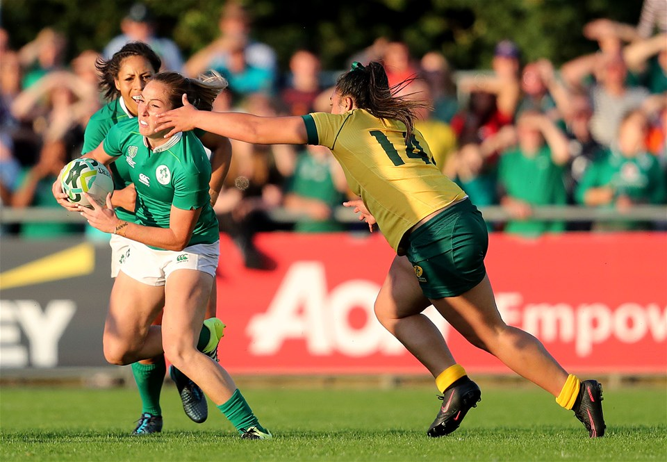 Clare woman Eimear Considine leads an attack for Ireland as she tries to break away from Australia's Nareta Marsters