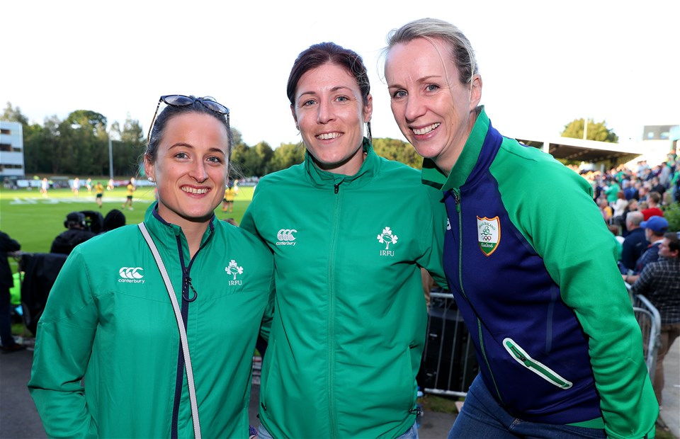 Ireland Sevens internationals Audrey O'Flynn and Laura Lee Walsh and sports psychologist Kate Kirby are pictured together ahead of the second half