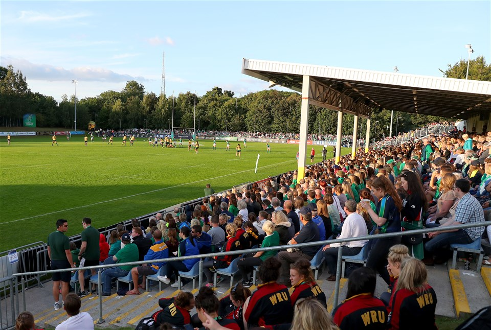 The packed-out UCD Bowl follows the action during the opening minutes of the second half
