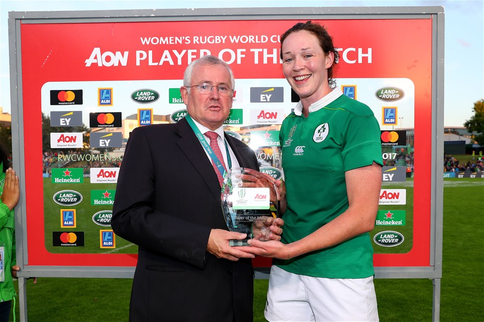 Marie Louise Reilly was selected as the Aon player of the match. She received her award from Aon's Richard Endersen after the game