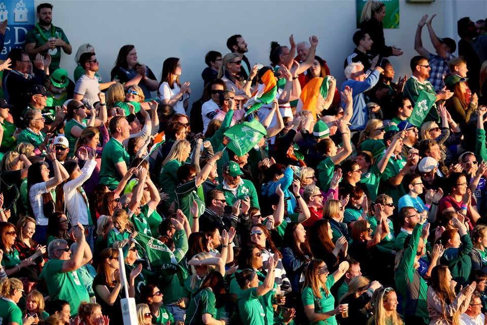 The Ireland fans react to Ciara Griffin's score which saw the hosts retake the lead at 14-10