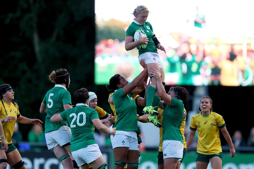 Ireland skipper Claire Molloy secures lineout possession for her side during the closing stages