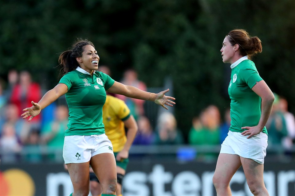 Sene Naoupu and Nora Stapleton celebrate after the Ireland out-half found touch to confirm Ireland as two-point winners