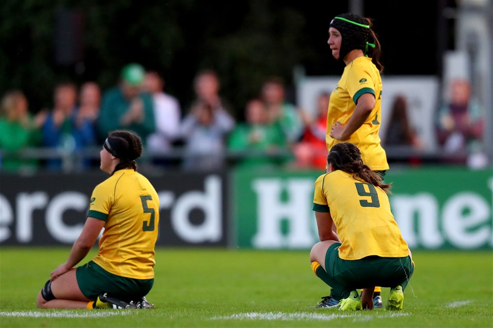 The dejected Australian players fell just short of making a winning start to WRWC 2017